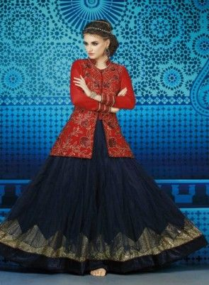 Majestic Midnight #NavyBlue and #TomatoRed #Anarkali Features Double Layered Navy Blue Net Colored Top With Neck Embroidery Red Colored Silk Velvet Jacket With All Over Hand Work Comes With Santoon Bottom Inner And Chiffon Dupatta.