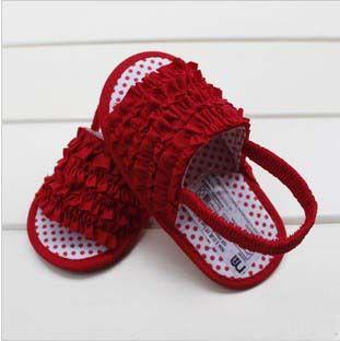 New Arrival, 1 Pc for Retail Flower Design Soft Bottom Anti - slip Cotton Baby Shoes Girls Cute Red Dot Kids Sandals http://zzkko.com/n446061 $6.39 USD $ USD € EUR $ ARS …