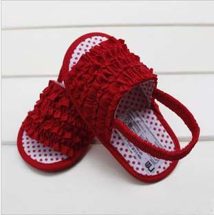 Hot Sale Red Dot Rose Flower Elastic Band Design Baby Summer Sandals Princess Style Girl Infants Shoes 6pair/lot