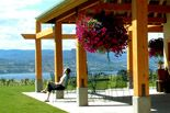 This is the view from Red Rooster winery's patio. They serve lunch on this spectacularly situated patio from late spring to early fall, featuring the culinary genius of Darin Patterson from Bogner's of Penticton Restaurant. The view is first a slope, with a gorgeous manicured lawn and then rows of grapes. Beyond that is the gorgeous sparkling Okanagan lake, in front of rolling mountains on the other side of the valley.