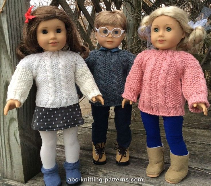 ABC Knitting Patterns - American Girl Doll Aran Sweater