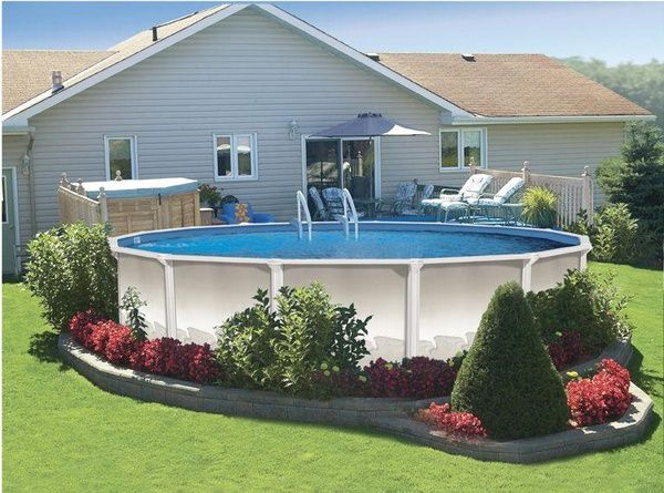 Pool landscaping...Good idea if you have one of the unattractive above ground pools!