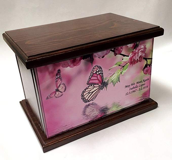 8590948dabe8e Cremation Urn, Wood funeral Urn, Butterfly and flowers wooden Urn ...