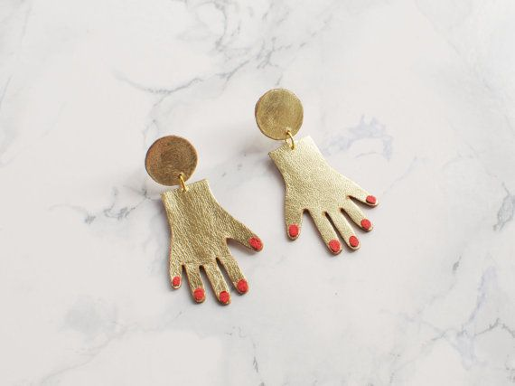 Handmade gold and red leather hand earrings by BenuShop on Etsy
