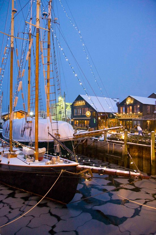 Christmas boat in Newport, RI. {I miss the Christmas boat parade on the Potomac}