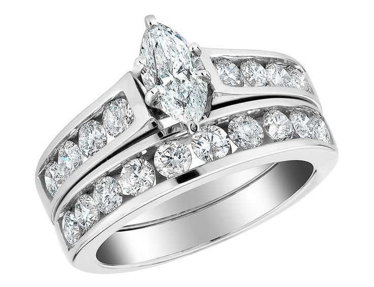 Diamond Marquise Cut Engagement Ring Wedding Band Set Carat Ctw Ct Center In White Gold Size