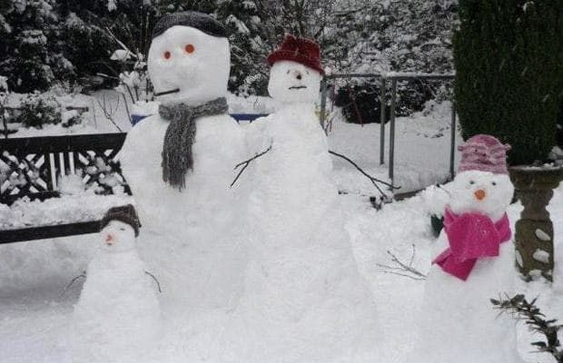 Pictures of snowmen sent in by Telegraph readers around Britain.