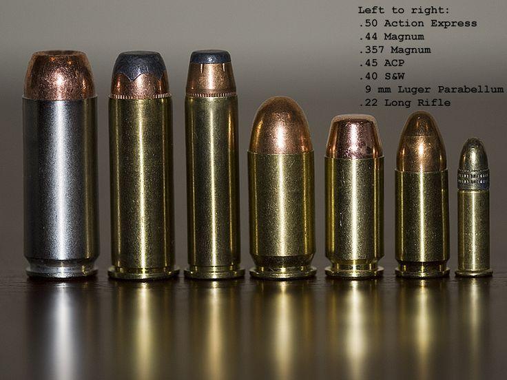 Pistol Cartridges - .50 Action Express, .44 Regington Magnum, .357 Magnum, .45 ACP, .40 Smith & Wesson, 9mm Parabellum, .22 Long Rifle