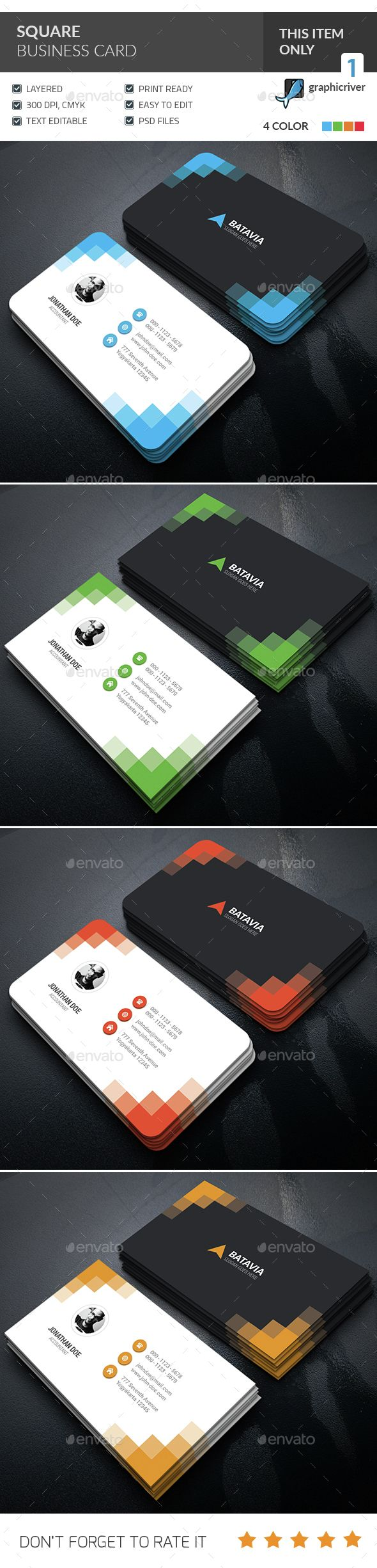Square Corporate Business Card — Photoshop PSD #clean #multicolor • Available here → https://graphicriver.net/item/square-corporate-business-card-/15301883?ref=pxcr