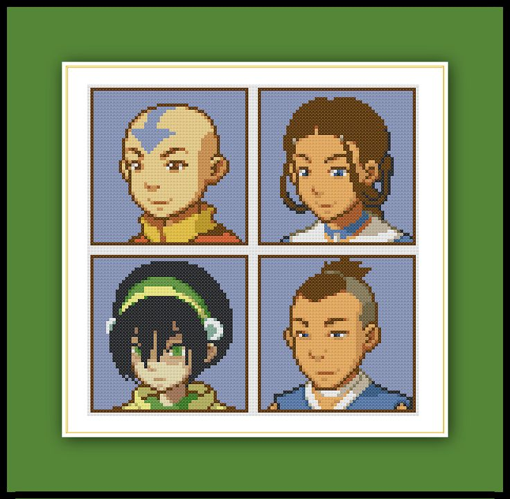 Cross stitch patterns of Aang, Katara, Sokka, and Toph from Avatar The Last Airbender. Thanks to BudsieBuds for the sprites. Download the PDF here:Avatar Cast Pattern Grid Size: 105W x 105H Design…