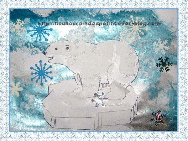 - ours polaire réalisé par T et A 2 ans et demi, peinture bleu qui brille au rouleau sur feuille blanche, flocon de neige sur font de page peinture blanche sur papier bulle, collage de papier crépon sur gabarit ours polaire ..... - fiche gabarit ours...