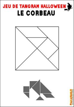Jeu de tangram à imprimer corbeau Halloween jeux d'Halloween à imprimer gratuit…