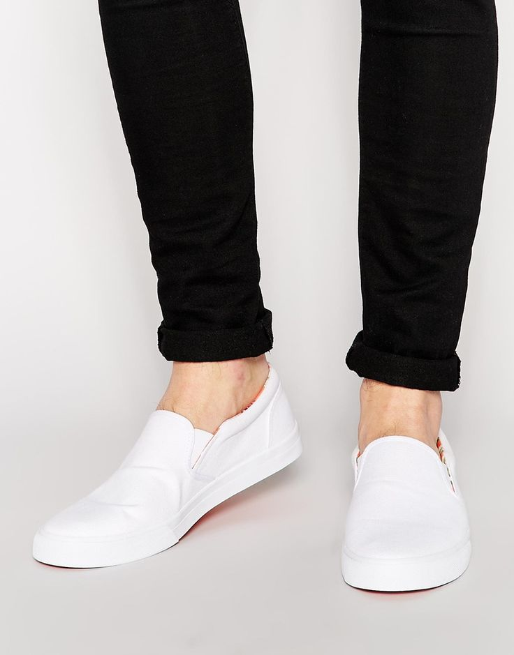 Image 1 of ASOS Slip On Plimsolls With Floral Lining