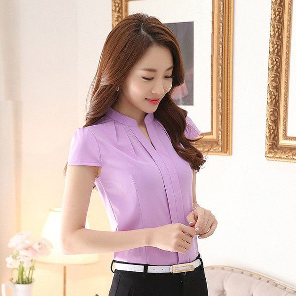 New Summer Fashion Slim women chiffon shirt Elegant Solid color Short-Sleeved women tops Plus size women chiffon blusas