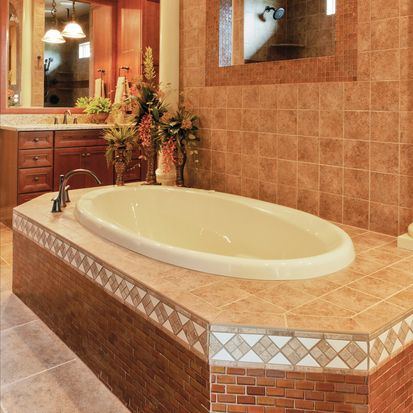 Check Out This American Olean Product: 2011 Homearama. Photo Features  Solare Amber 1 X 1 Mosaic On The Tub Surround And Mirror Frame.
