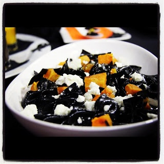 Insatiable  Black Bow Tie Pasta with Roasted Squash and Goats Cheese