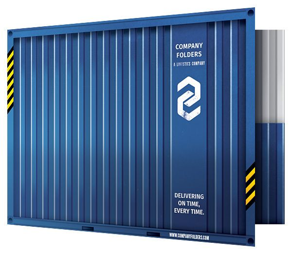 Folder Design Templates / Shipping Container Presentation Folder Template [Free PSD]