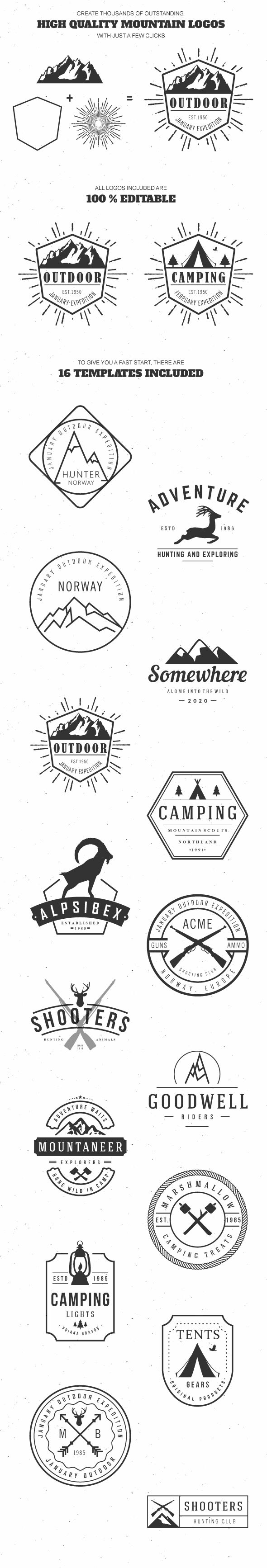 Mountain Outdoor Vintage Logo Kit by lovepower on @creativemarket