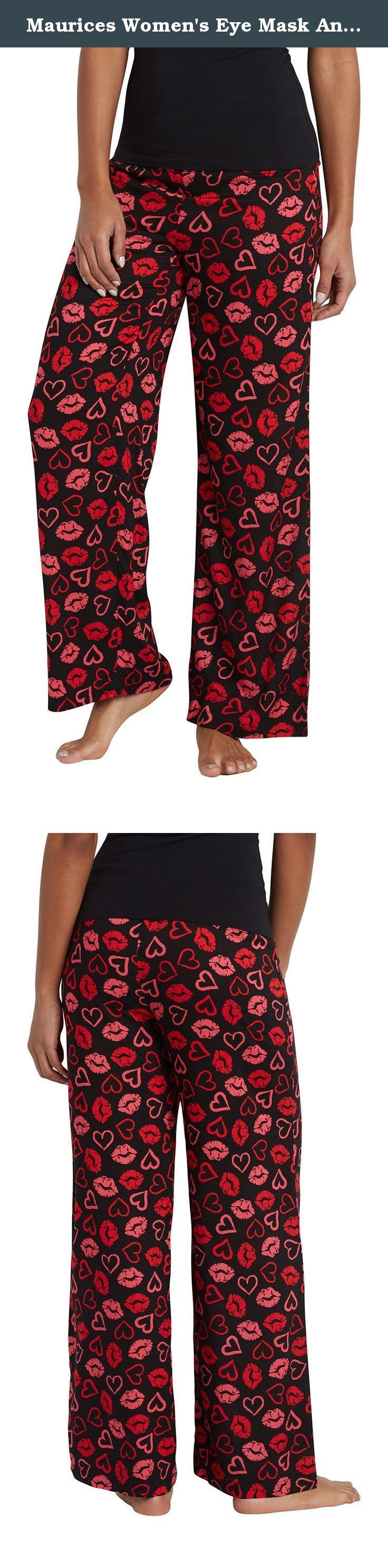 Maurices Women's Eye Mask And Lightweight Sleep Pant Set In Lip Print Large Black Combo. Eye mask and lightweight sleep pant set in lip print. Fabric and care: imported 100% rayon machine wash.