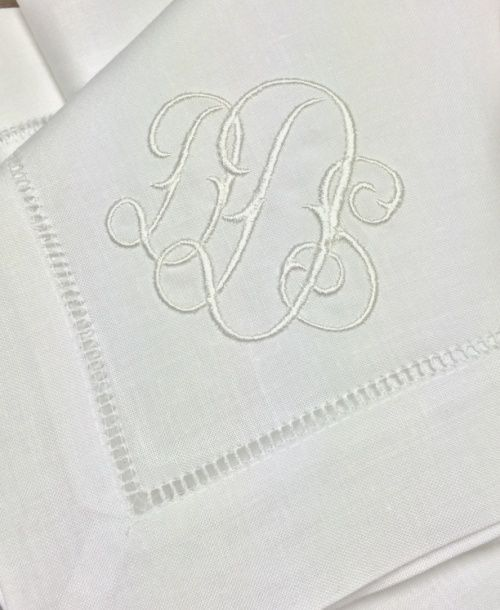 custom gwyn monogram on hemstitched linen napkins placemats cocktail napkins table