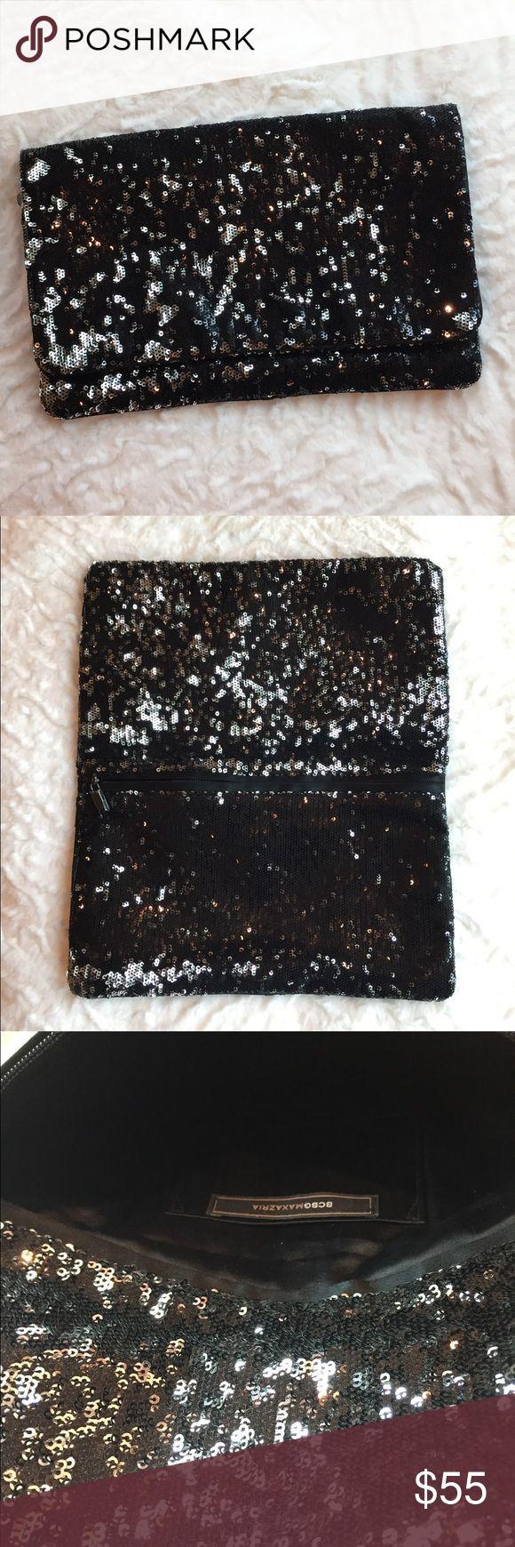 "BCBGMAXAZRIA Sequin Clutch BCBGMAXAZRIA Sequin Clutch. Black/Silver. 11"" W x 7""H. Fold over with magnetic closure. Great Condition. Gorgeous sparkling clutch! BCBGMaxAzria Bags"