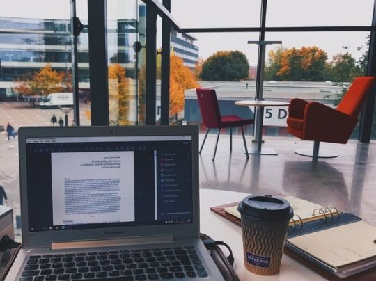 studyart: At the university, drinking coffee and working with my master thesis. Study hard lovers!