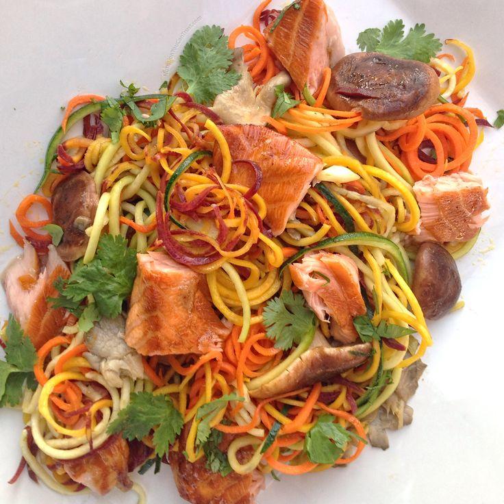 Teriyaki Salmon Ginger Rainbow Noodles #realfood #recipedevelopment #eattherainbow #paleo #pesco #vegetarian #glutenfree #grainfree #veggie #pasta #noodles