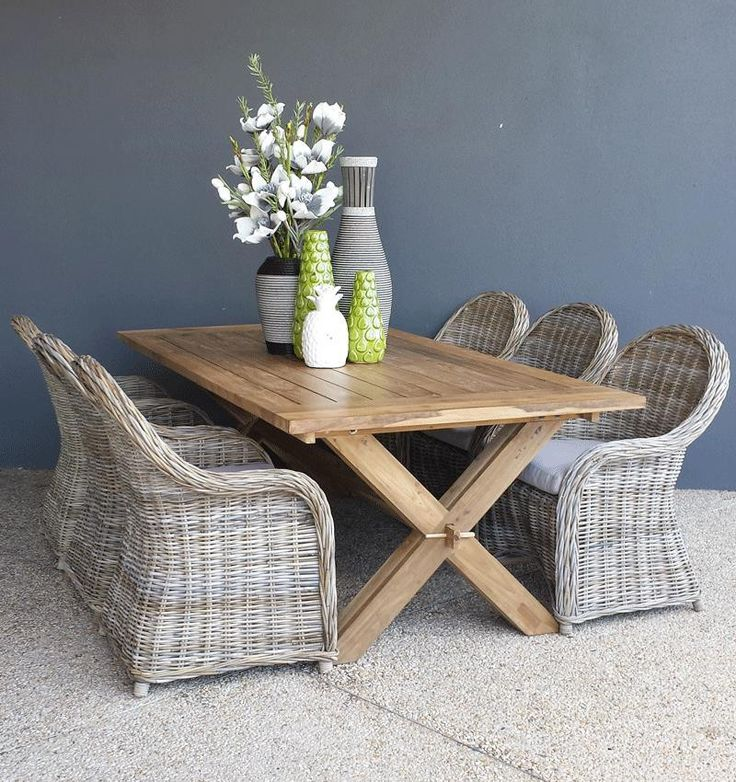 Recycled Teak Cross Dining with 6 x Surabaya Dining Chairs from The Furniture Shack