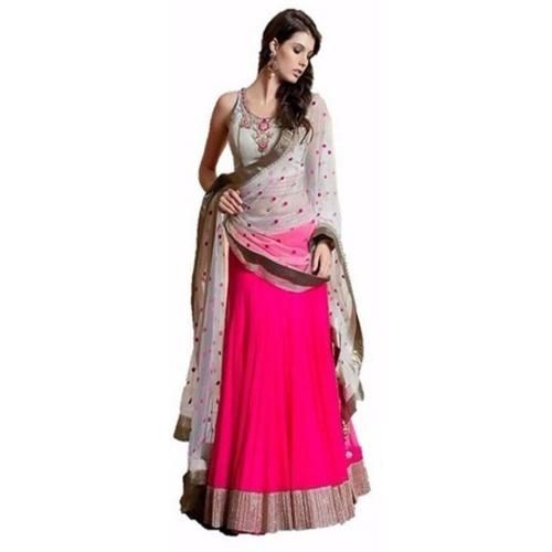 Fidubi Pink & Gray Embroidered Lehenga Choli