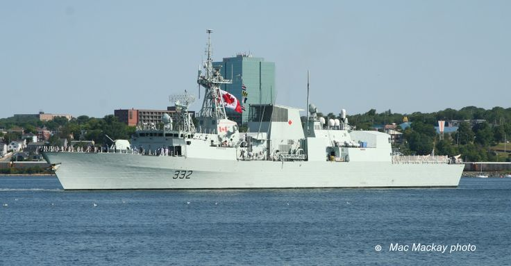 Halifax class frigate HMCS Ville de Quebec has backed out into the harbour and started to turn for sea.
