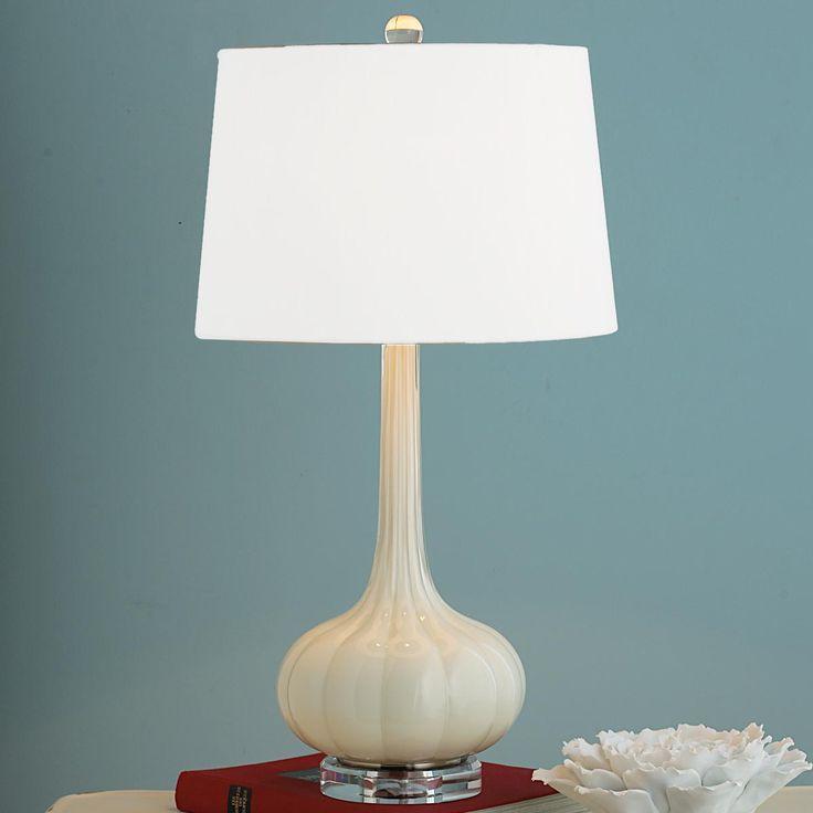 "$325 ea 28.5""Hx15""W)  Shade: (13""x15""x10"")  8' clear silver cord Long Neck Melon Glass Table Lamp"