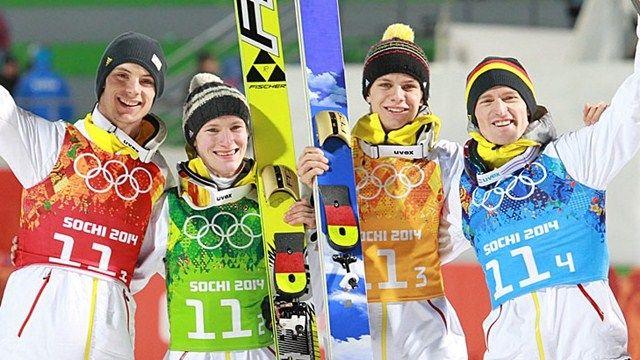Andreas Wank, Marinus Kraus, Andreas Wellinger, Severin Freund - Gold winners in Sochi