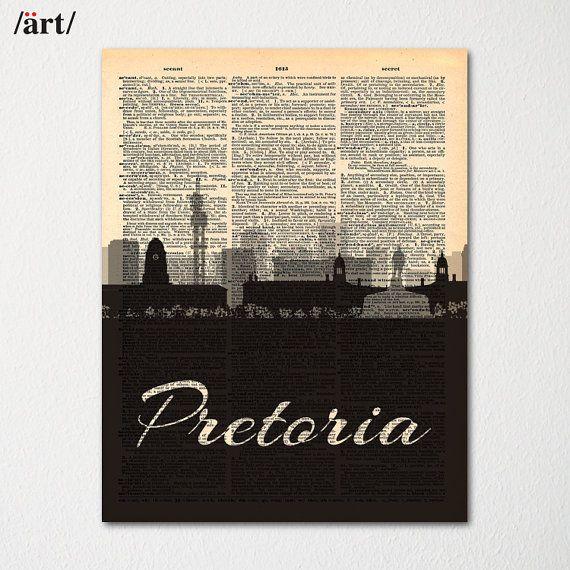 Pretoria City Skyline Dictionary Art Print / Cityscape Poster / Travel Art Decor