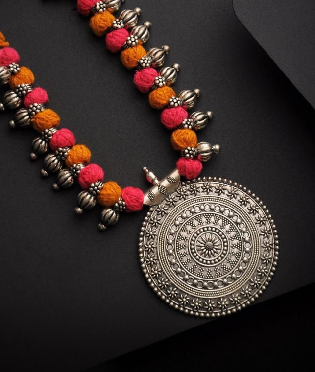 Buy An Indie Touch Step By Step Kolhapuri beaded thread necklaces with intricate pendants Online at Jaypore.com