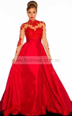 Ball Gown Long Sleeves High Neck Backless Floor-length Evening Dresses eyaa1090--Hodress