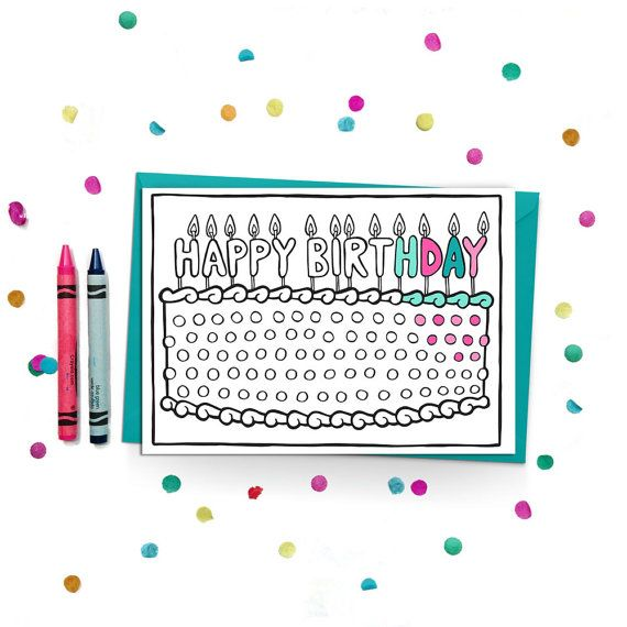 Happy Birthday Coloring Card Give more than just a card, give a colorful experience! Customize this birthday card with someone special in mind, or let the fun of coloring be part of the gift.  Brighter Sides Design coloring cards feature original, hand-drawn illustrations on the outside, and are blank on the inside, leaving plenty of space for your words and wishes.