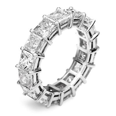 bands eternity rings set channel princess anniversary cut band