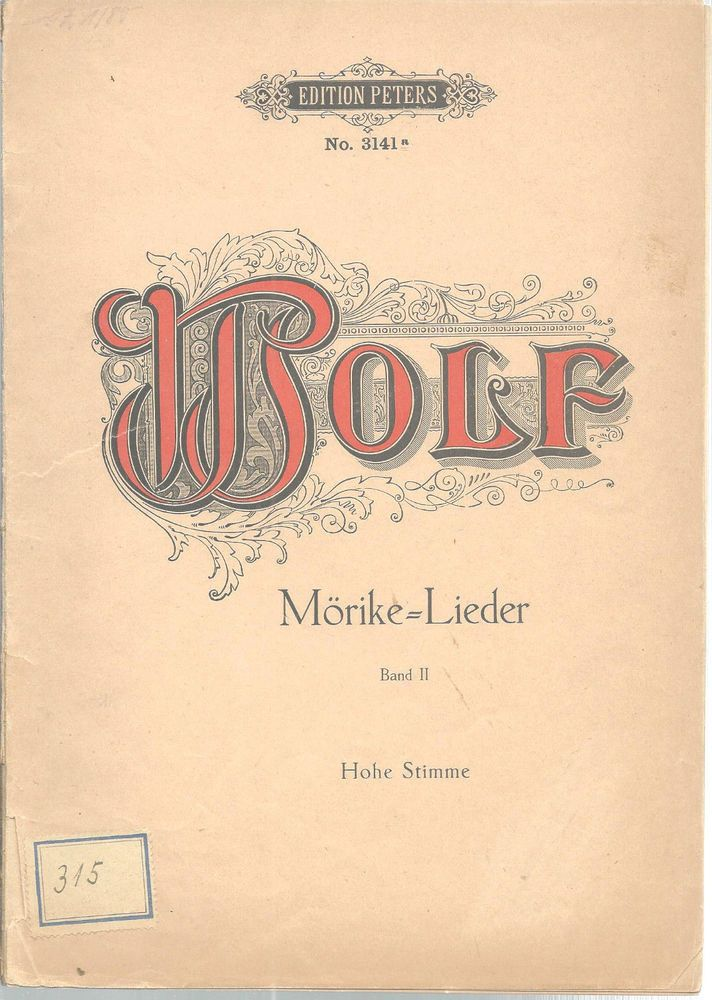 Morike Lieder Song Book Hugo Wolf German English Sheet Music Band II Vintage