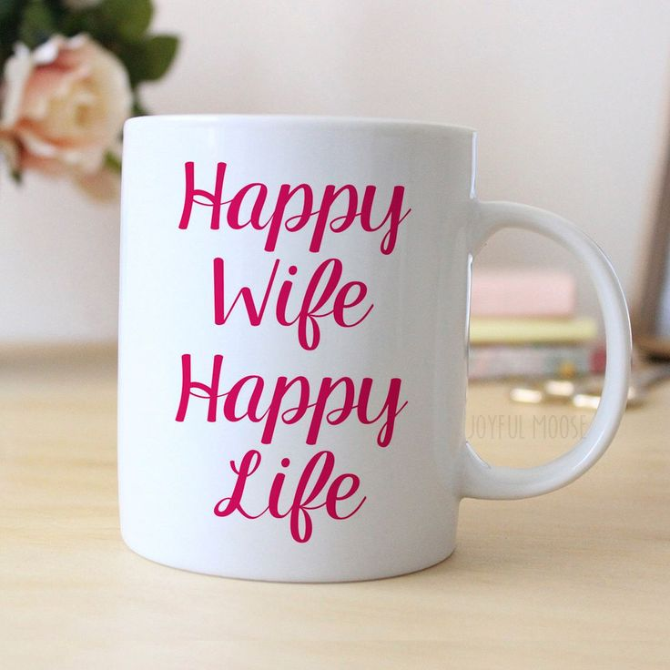 "Pink Coffee Mug says ""Happy Wife Happy Life"". Makes great gift for wife on Valentine's Day or Anniversary. Wedding Gift for her, or Gift for Bride. ❤ ABOUT JOYFUL MOOSE MUGS ❤ - 11 oz Ceramic Coffee M"