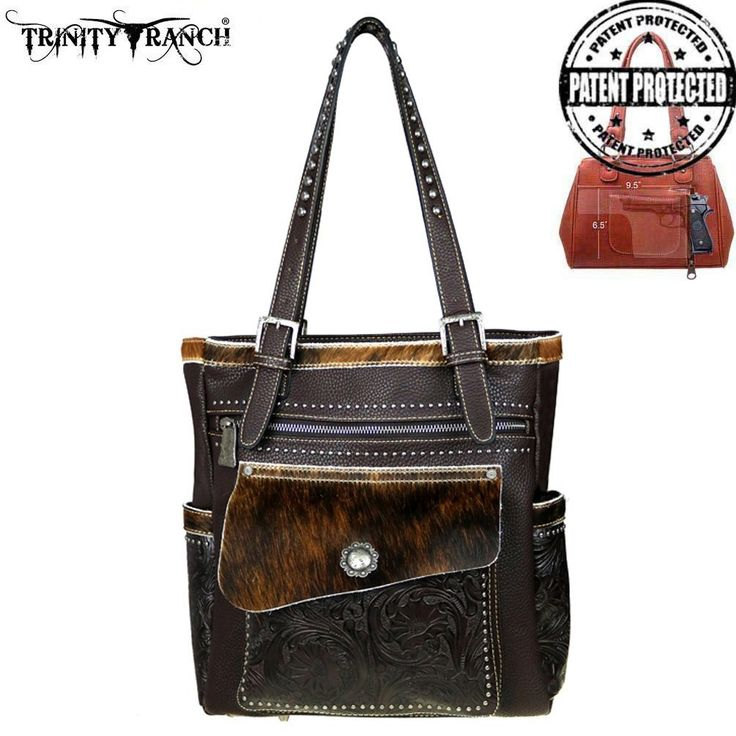 Trinity Ranch Tooled Hair-On Leather Collection Concealed Handgun Tote   Check out this great new concealed carry bag! #haironhidebag  #concealedcarrybag #newarrival#westernpurse #montanawestpurses