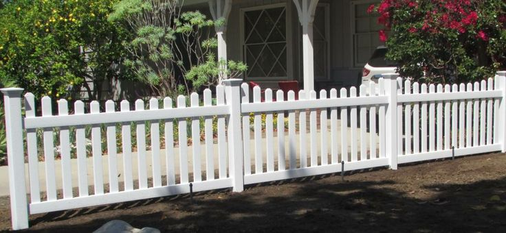 Decorative Picket Vinyl Fence With Scallops A Really Nice Divider Between Ne