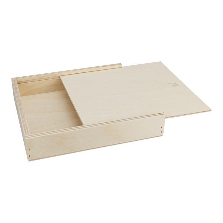 Holzbox 145 x 128 x 20 mm, Schiebedeckel, Birke Holzschachtel