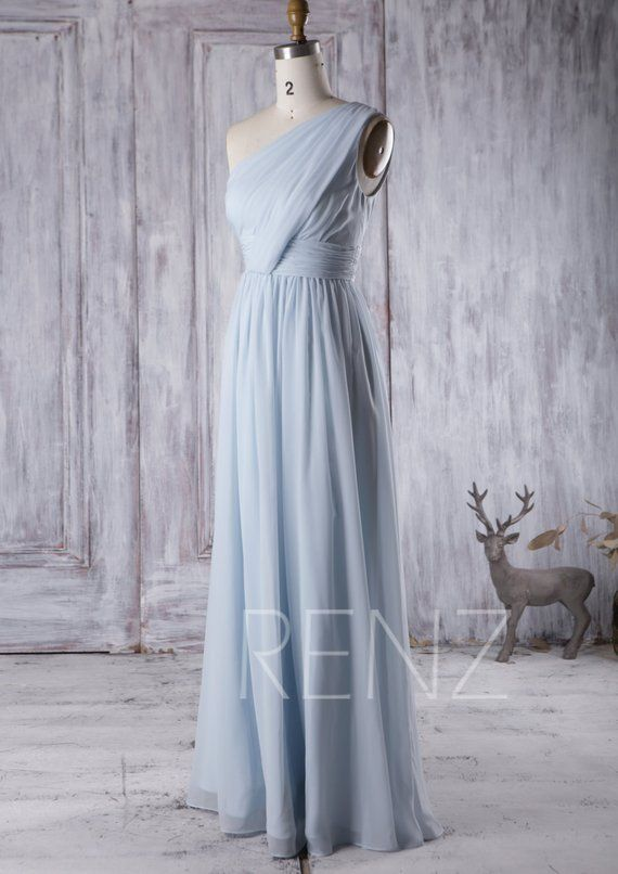 ca0b651bded Bridesmaid Dress Light Blue Chiffon DressRuched One Shoulder