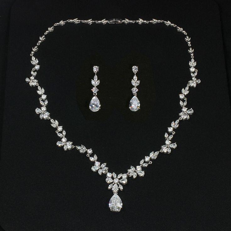 Flower motif cubic zirconia necklace and earrings set - Arabella
