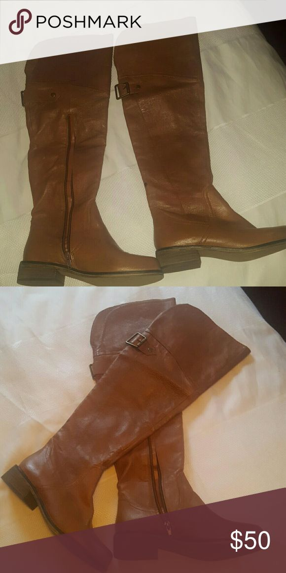 Steve madden womens over the knee boots True to size,brand new steve madden boots.There is a very tiny spot on the lower bottom of right boot. Probably can be cleaned off  These were never worn. Fit comfortable! Shoes Over the Knee Boots
