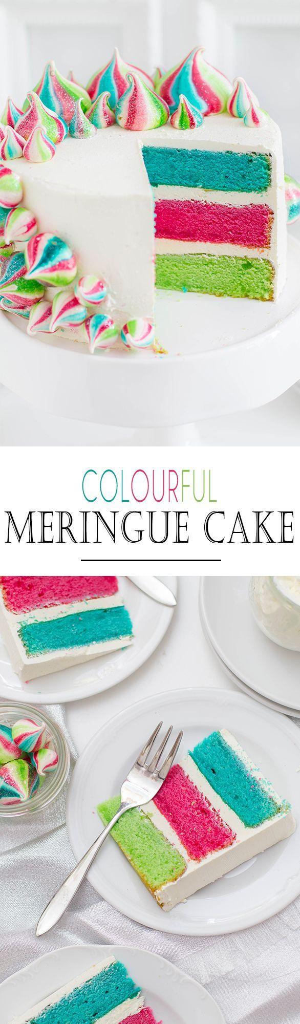 Colourful Meringue Cake with Vanilla Buttercream and Meringue Drops   Bunter Baiser Kuchen mit Vanille Buttercreme und bunten Baiserdrops