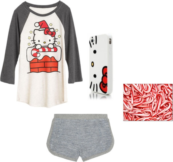 """""""Hello Kitty Candy Cane PJ's"""" by kaceytayler ❤ liked on Polyvore"""