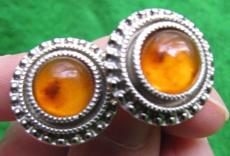 Russia 15 gr Natural Baltic Amber Honey cufflinks Vintage Retro Jewelry