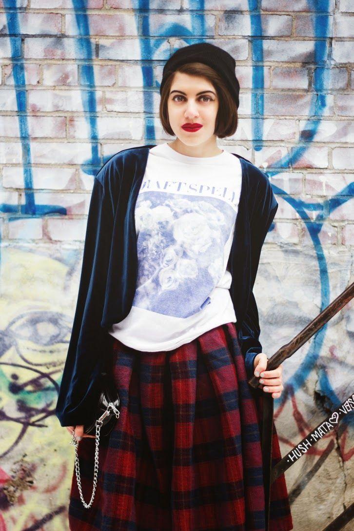 Blue  Tartan | FASHION IS MY RELIGION | photo Alex C.D. photography | #craftspell #shirt #velvet #steel #vest #red #tartan #maxiskirt #black #vintage #bag #beanie
