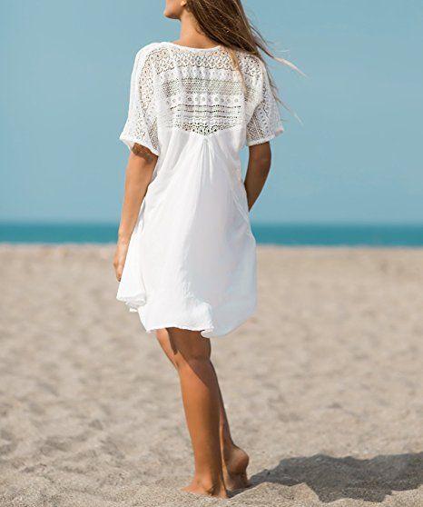 c9392e8e1eb869 ASSKDAN Damen Weiß Spitze Sommer Minikleid V-Ausschnitte Strandtunika  Strandkleider Kurz (Weiß, One